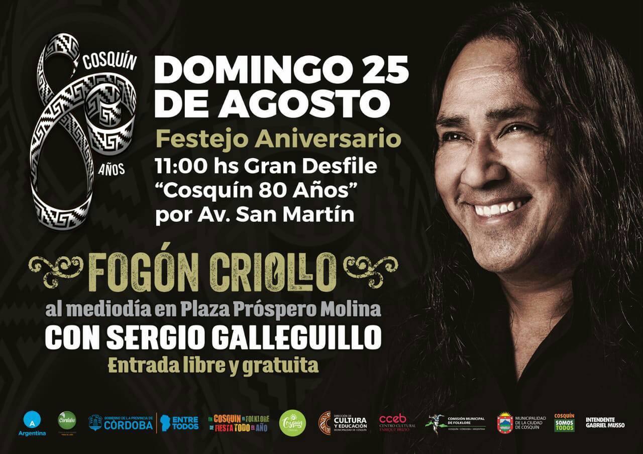 Cosquín festeja sus 80 años con un gran Fogón Criollo y el arte musical de Sergio Galleguillo