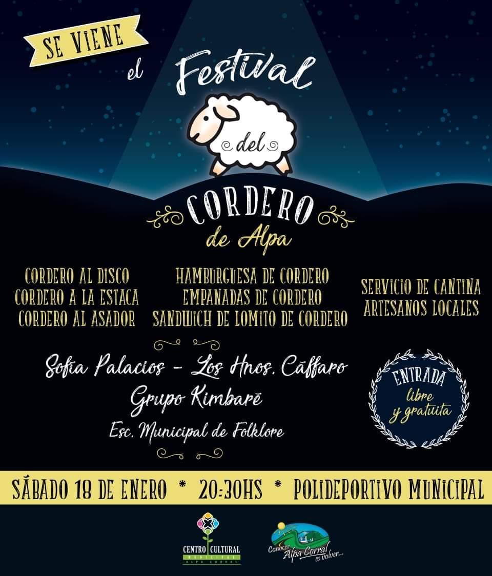 Con entrada libre y gratuita se viene el Festival del Cordero en Alpa Corral