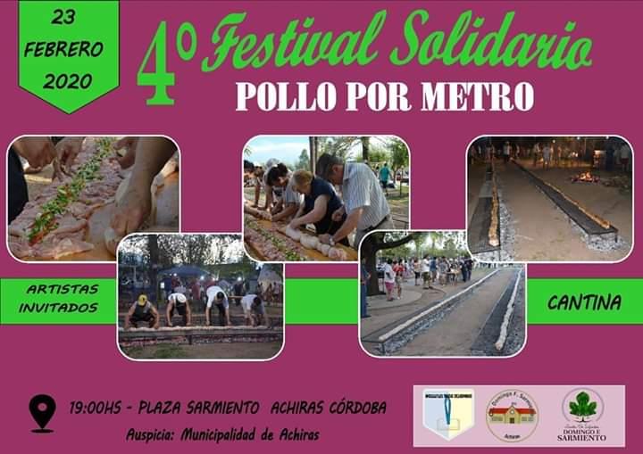 Pollo por metro en el 4° Festival Solidario de Achiras